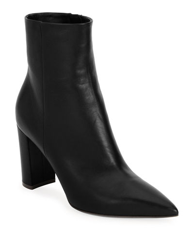 0d3cba728c5 Pointy-Toe 85mm Leather Block-Heel Bootie