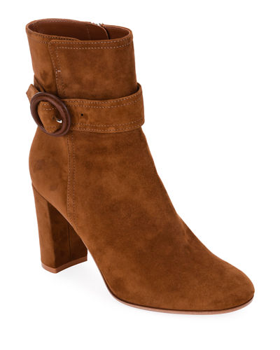 Suede Buckle 85mm Booties