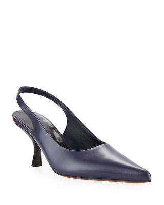 Bourgeoisie Leather Slingback Pumps, Navy