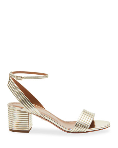 Sundance 50mm Metallic Leather Block-Heel Sandals