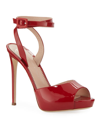 Ankle-Wrap Patent Stiletto Sandals