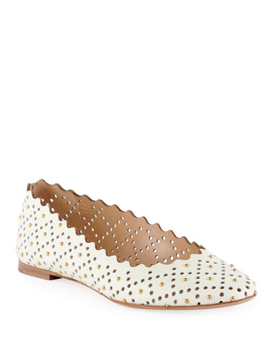 Perforated Leather Ballet Flat with Studs