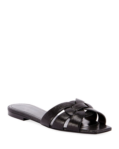 Tribute Flat Crackled Leather Slide Sandals