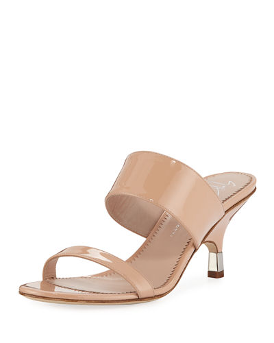 Patent Leather Webbed Slide Sandals