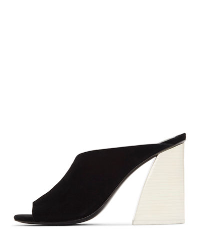 Izar Suede Block-Heel Architectural Slide Sandals