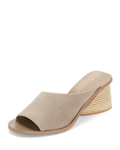 Izar Suede Low-Heel Architectural Slide Sandals