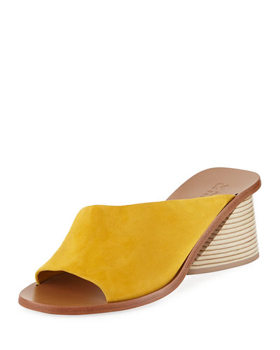 Mercedes Castillo Izar Suede Low-Heel Architectural Slide Sandals
