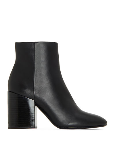 Madox Leather Block-Heel Booties