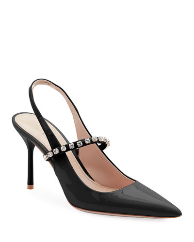 bab5b69ef8e Patent Leather Crystal-Strap Slingback Pumps. Sold Out. Quick Look. Miu Miu