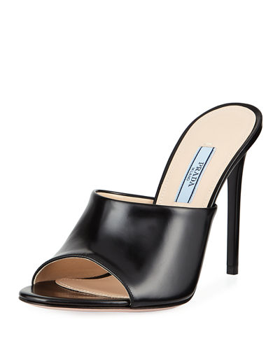 ea7de79fb315 Calf Leather High-Heel Mule Sandals Quick Look. BLACK  WHITE. Prada