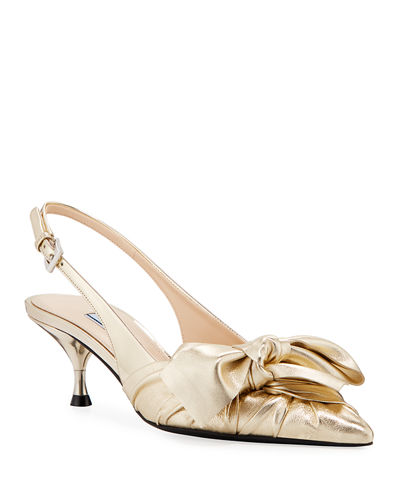 Ruched Metallic Leather Slingback Pumps