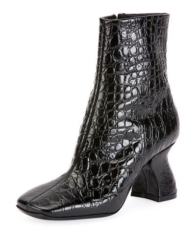 Croc-Print Ankle Boots with Curved Heel
