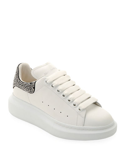 Leather Sneakers with Crystal Trim