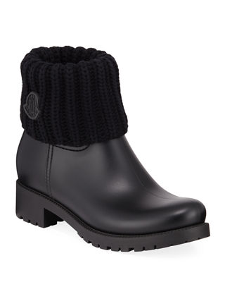 Ginette Stivale Knit Cuff Water Resistant Rain Boot in Black