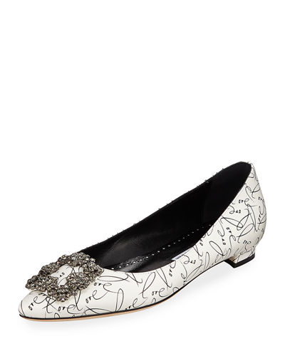 66292db0604e Manolo Blahnik Hangisi 10th Anniversary Love Leather Flats