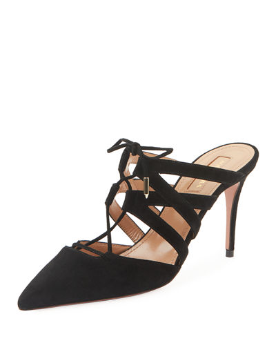 Belgravia Mid-Heel Suede Lace-Up Mules