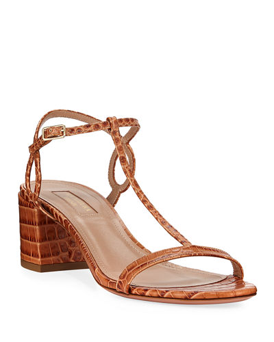 Almost Bare Croc-Print Leather Block-Heel Sandals