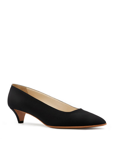 Lady Crepe Point-Toe Kitten-Heel Pumps