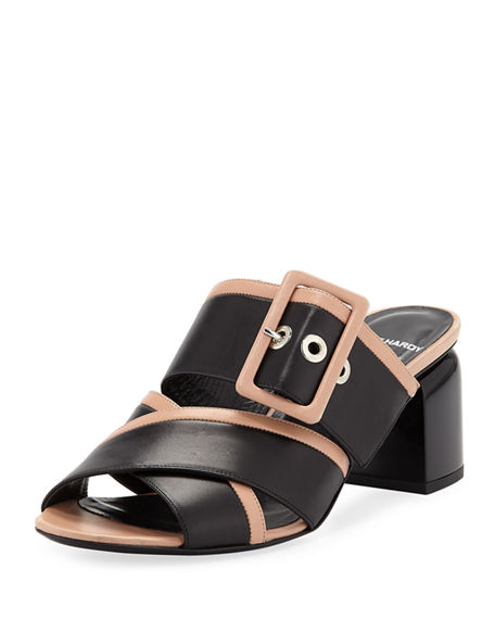 Pierre Hardy TWO-TONE BUCKLE SANDAL MULES