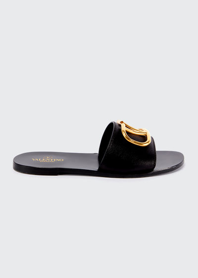 VLOGO Flat Leather Slide Sandals