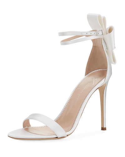 Satin Bow-Heel Sandals