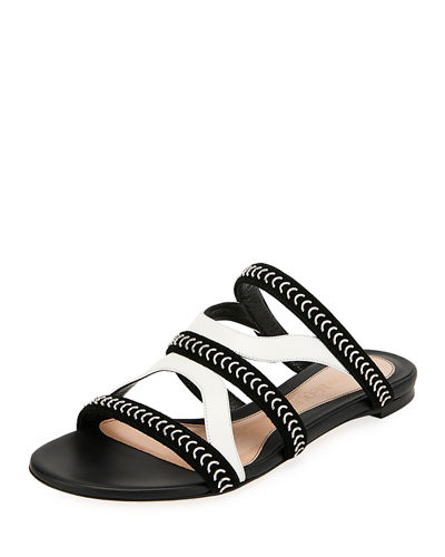 Flat Slide Sandals with Chain Detail