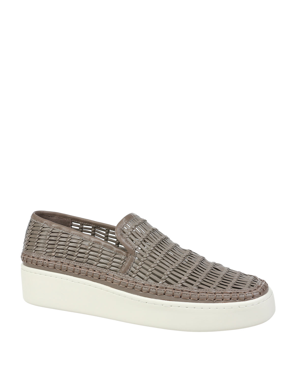 Vince Leathers STAFFORD WOVEN LEATHER SNEAKERS