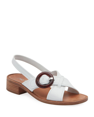 686b7039807 Leather Buckle Flat Sandals Quick Look