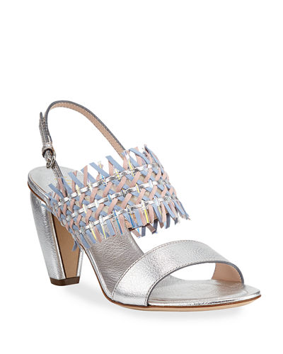 Woven Leather Slingback Sandals