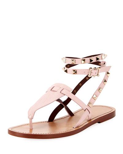 212aa390245572 Flat Rockstud Ankle-Wrap Gladiator Sandals
