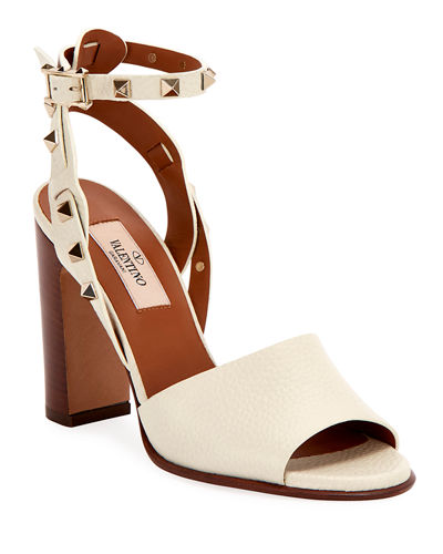 100mm Rockstud Ankle-Wrap Sandals
