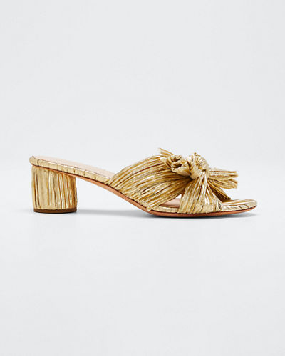 Emilia Pleated Knot Slide Sandals