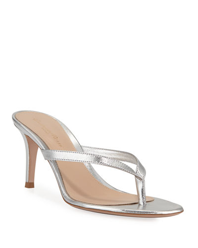 Metallic Leather Mid-Heel Thong Sandals