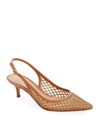 Slingback Fishnet Pointed Pumps