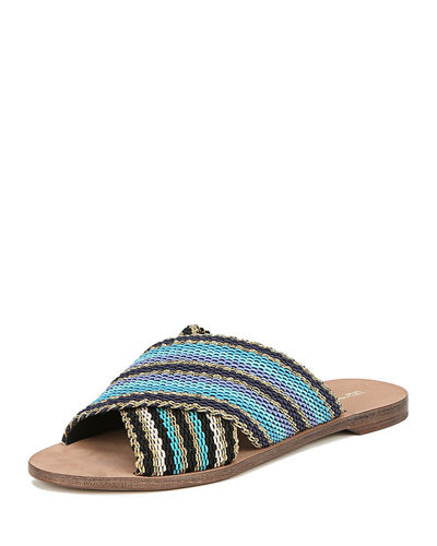 Cindi Leather Woven Slide Sandals