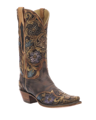 Drea Distressed Floral Boots