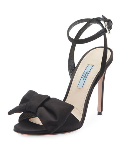Satin Knot-Front Sandals