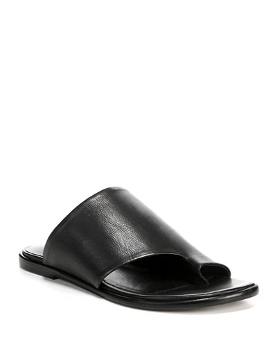 Edris Flat Siviglia Leather Slide Sandals