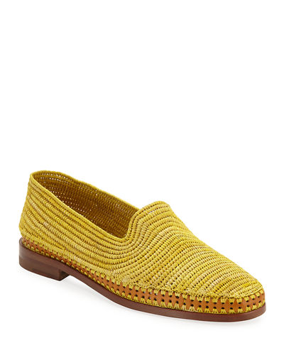 Amira Woven Raffia Slip-On Loafers