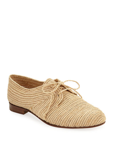 Faza Woven Raffia Lace-Up Sneakers