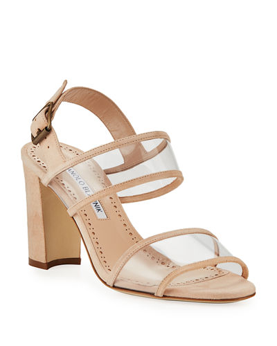 Khan Suede Clear-Strap Sandals
