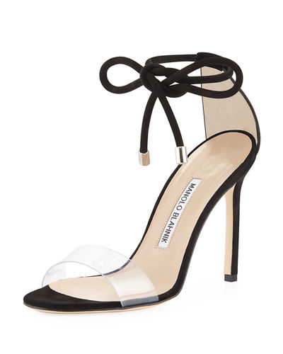 36c0c1e7040 Manolo Blahnik Estro Leather   PVC Ankle-Wrap Sandal