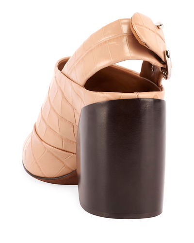 Wave Embossed Slingback Booties