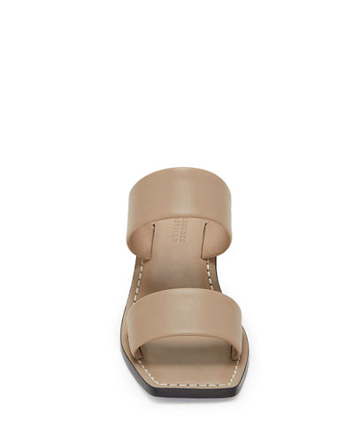 Lavinia Two-Band Leather Slide Sandals