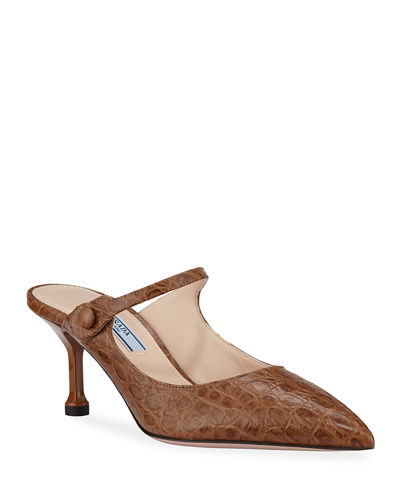 01e07ee37e7a Croc-Embossed Mary Jane Mules