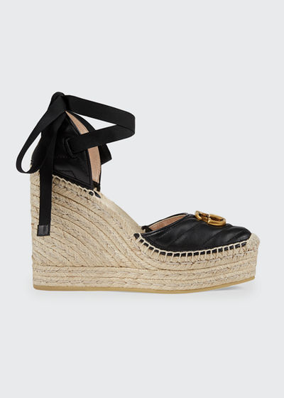 Palmyra Leather Platform Espadrille Wedges