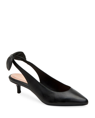 Noelle Leather Slingback Pumps w/ Bow