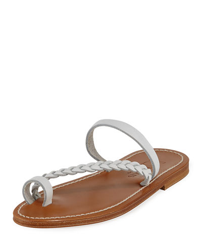 Isaure Braided Leather Flat Sandals