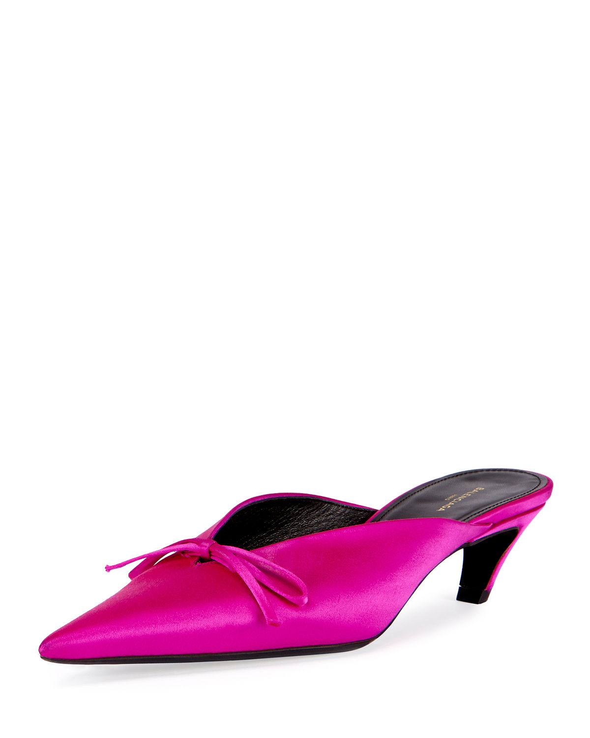 Balenciaga Satin Point Toe Mule Pump Rose Fuchsia Modesens
