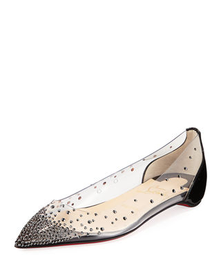Degrastrass Red Sole Ballet Flats in Black